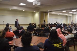 Joshua Quinonez speaks at President's Forum