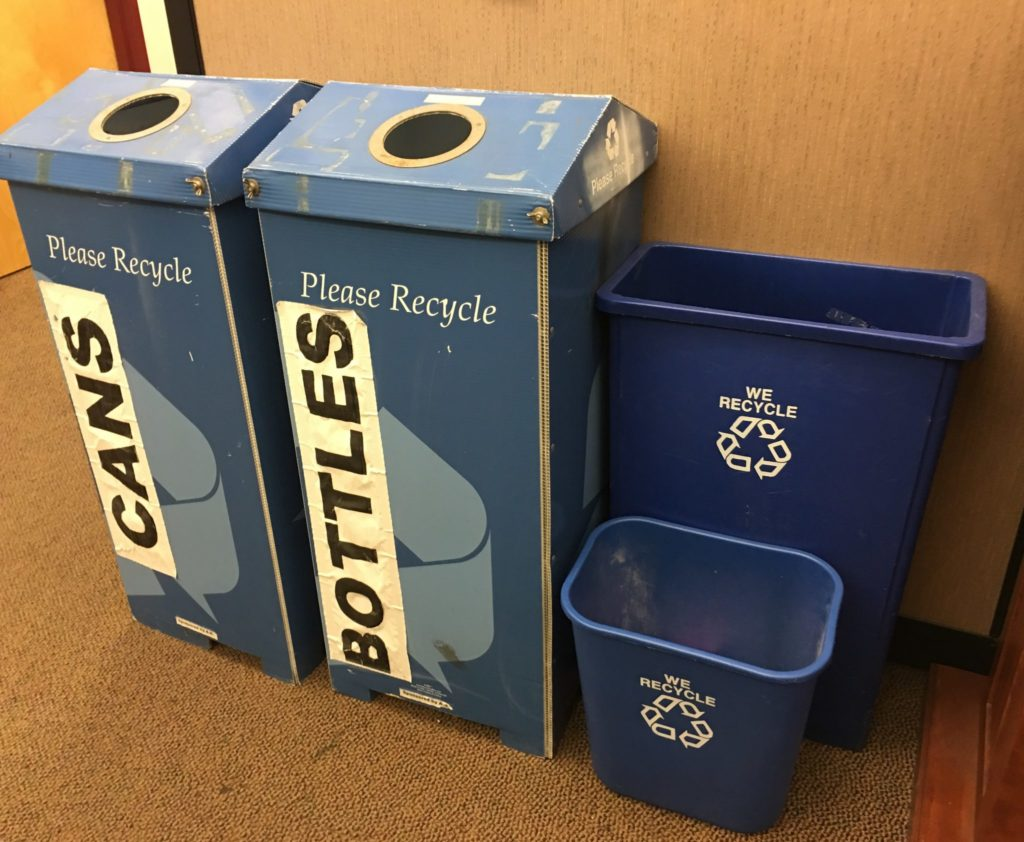 Recycling bins inside of the A.S. room