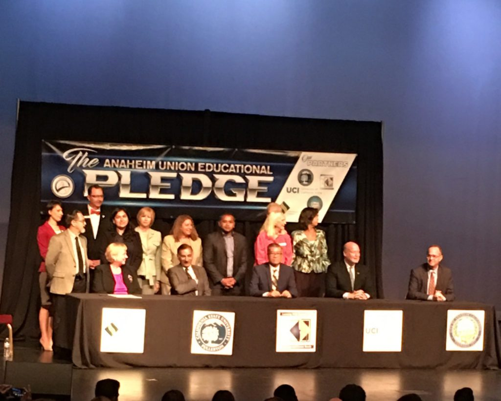 AUHSD, NOCCCD, CSUF, UCI institutional leaders and Mayor Tom Tait at the Anaheim Union Educational Pledge