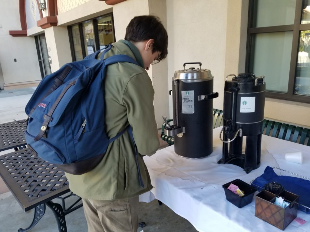 Student getting coffee