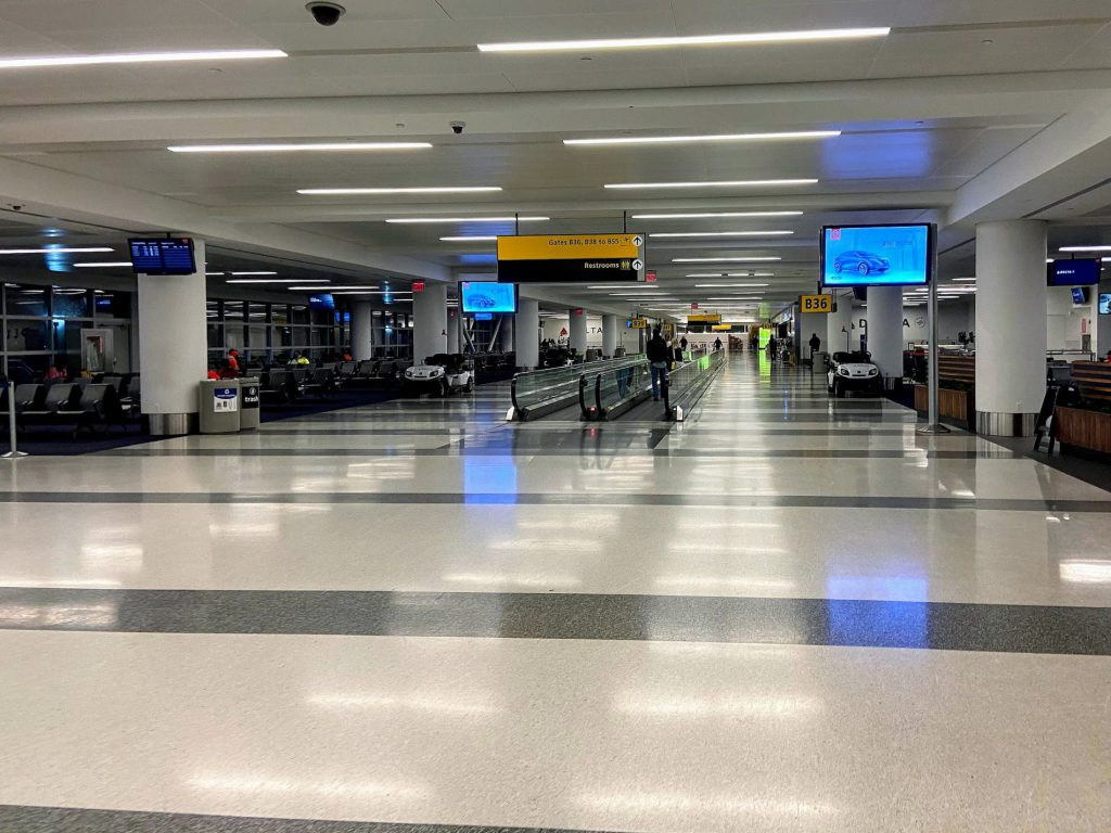 A very empty Delta terminal at JFK Airport in New York.