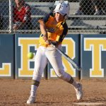 Sarah Rengifo hits a single to get on base on against Cypress College