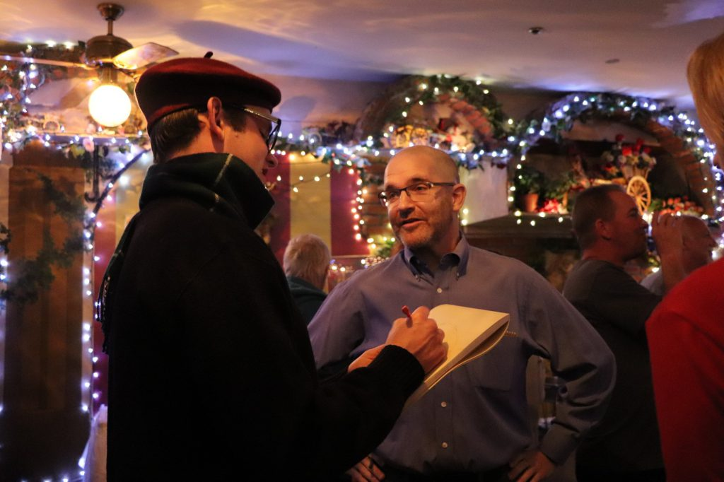 Dr. Dan (Dan McLaughlin) and Hayes Sackmann (Hayes Dunlop) drew suspicion from guests as they conversed.