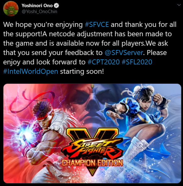 Street Fighter's executive producer, Yoshinori Ono announcing the netcode patch's release on Twitter.