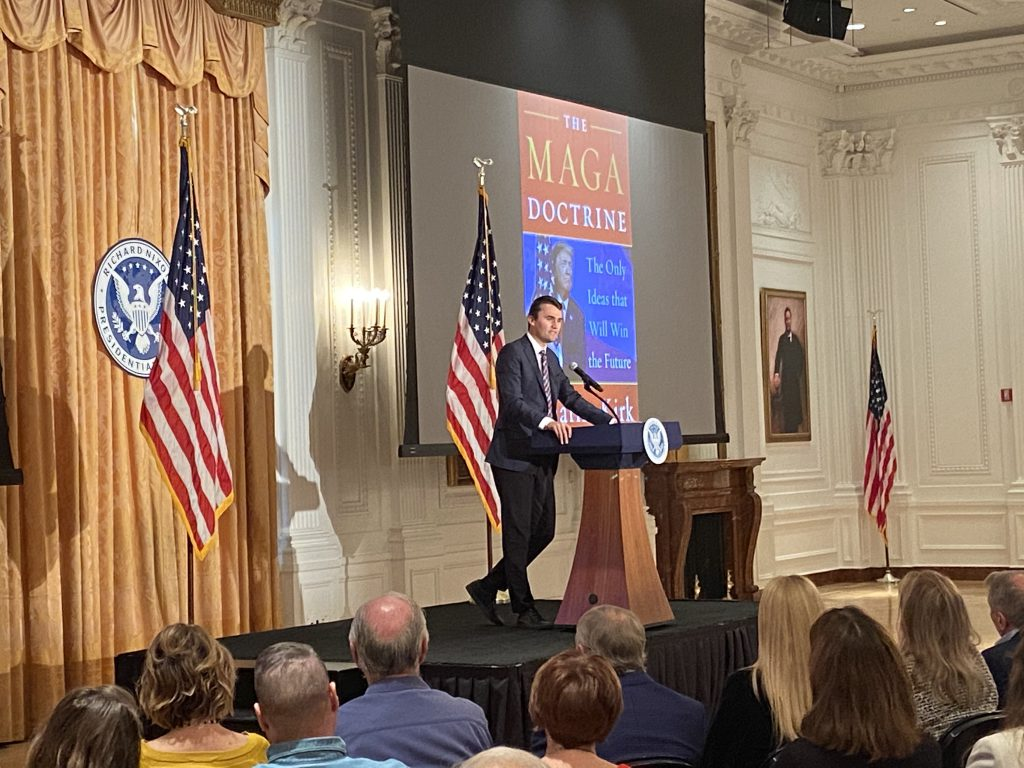 Charlie Kirk speaks to hundreds of community members form the Orange County community encouraging them to promote the conservative policies of President Trump
