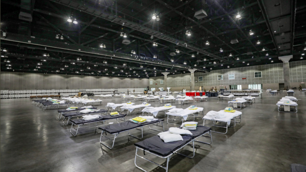 The Los Angeles Convention Center turned into a hospital bed due to the COVID-19 pandemic.