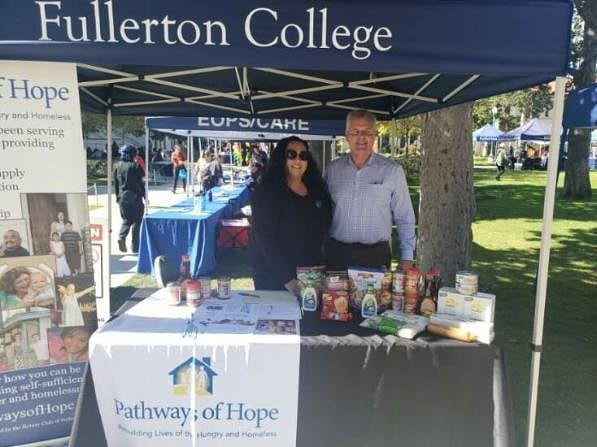 Pathways of Hope information booth at Fullerton College.