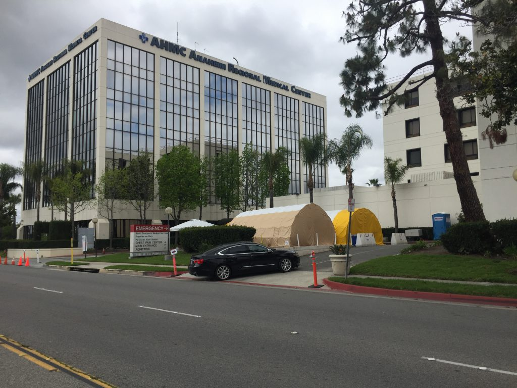 The Anaheim Regional Medical Center (AHMC) located at 1111 W. La Palma Ave. Anaheim CA, 92801 (714) 774-1450. People coming to AHMC experiencing COVID-19 symptoms will be seen in the Emergency Room and taken outside to the COVID-19 testing tents to be further evaluated. There is no drive-thru testing at this community hospital.