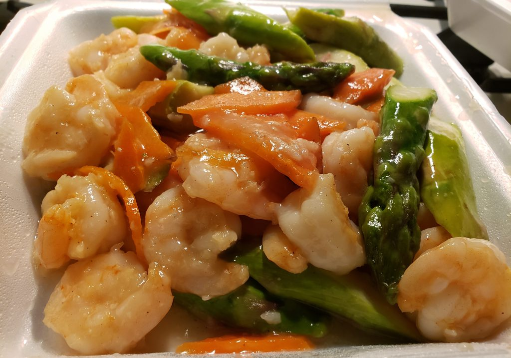 At Ma's House, the Shrimp with Asparagus is a fresh and savory dish that also included sliced carrots.