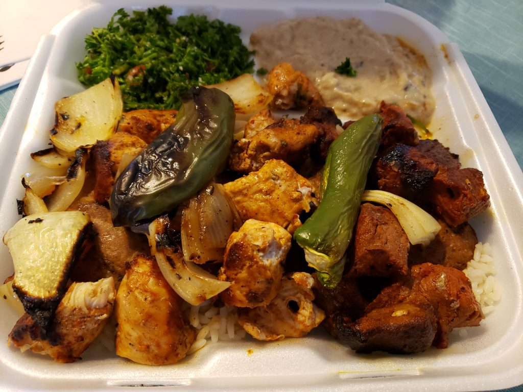 Mixed Grill 1 Plate: Chicken, beef, kofta, rice, baba ganoush and tabouleh.