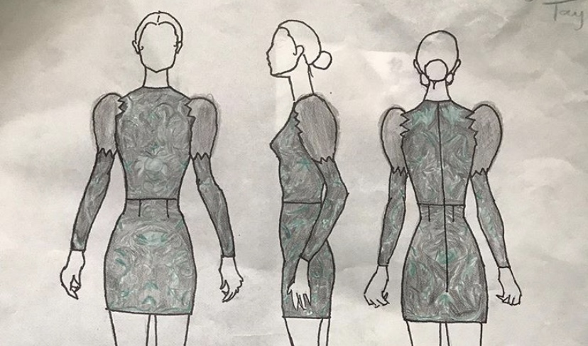Emerald Taylor's sketch designs for her emerald-colored dress,