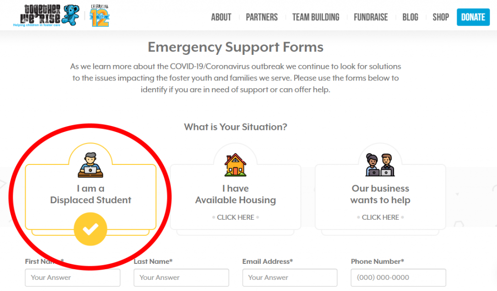 Together We Rise's emergency support form on their website. Students need to mark this section in order to correctly submit their information.