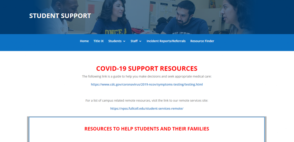 Fullerton College's COVID-19 Support Resources page.