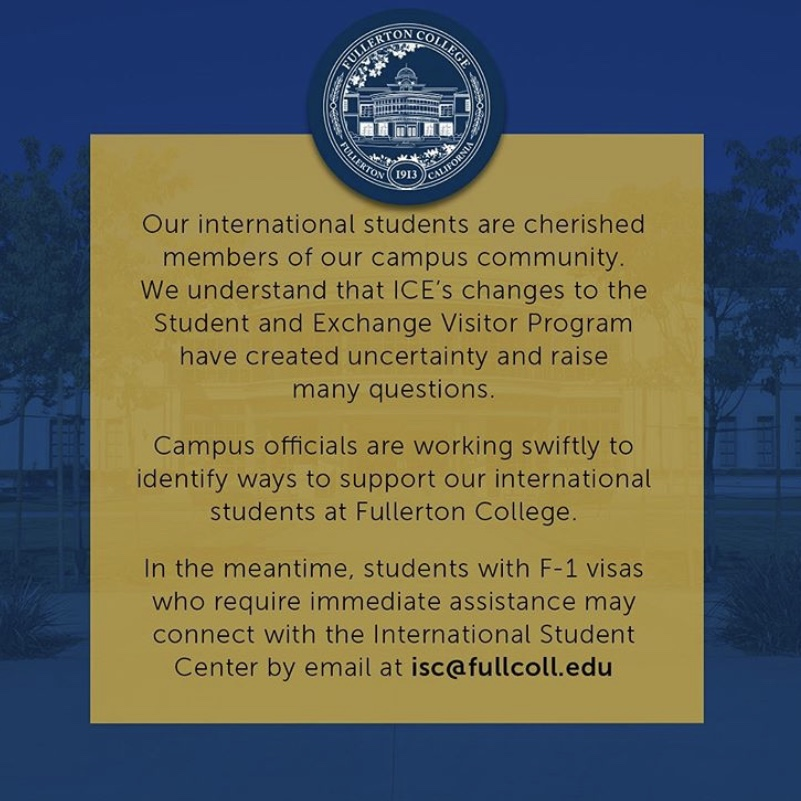 FC uploaded a message to international students on their Instagram.