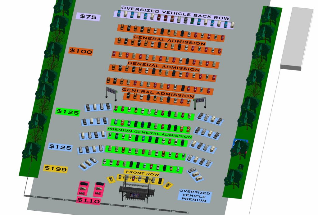 The drive-in concert parking layout for patrons.