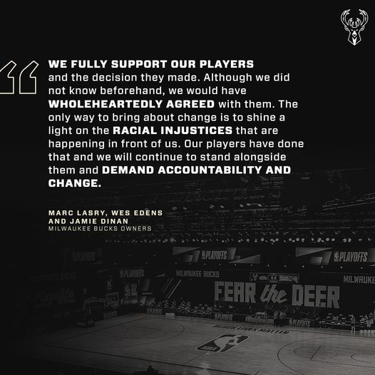 A statement from the Owners of The Bucks in support of the players.