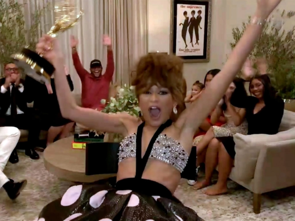 """Zendaya accepts the Emmy for Outstanding Lead Actress in a Drama Series for """"Euphoria"""" during the 72nd Emmy Awards"""