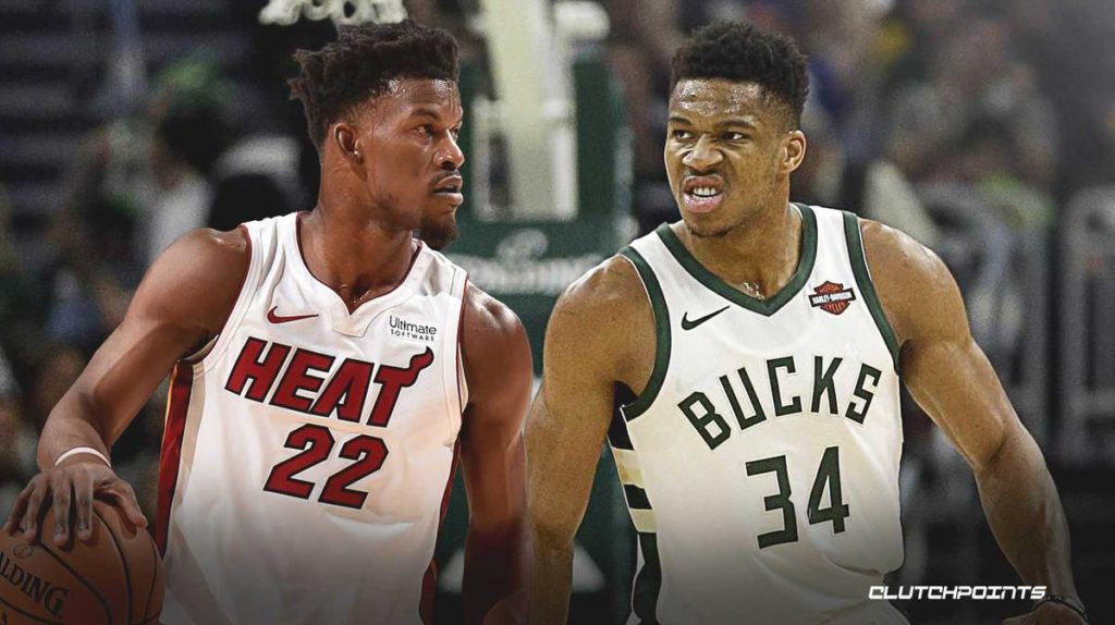 Jimmy Butler (left) squares off agianst Giannis Antetokounmpo (right) in round 2 of the NBA playoffs