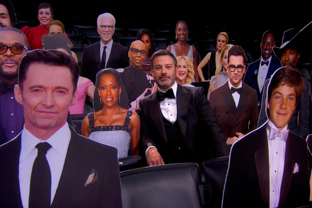 Jimmy Kimmel, center, appears in the audience with celebrity cut-outs during the 72nd Emmy Awards