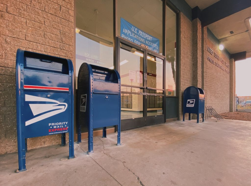 Mail boxes outside of an Orange County USPS. Voters can also mail back their ballots at your local Post Office.