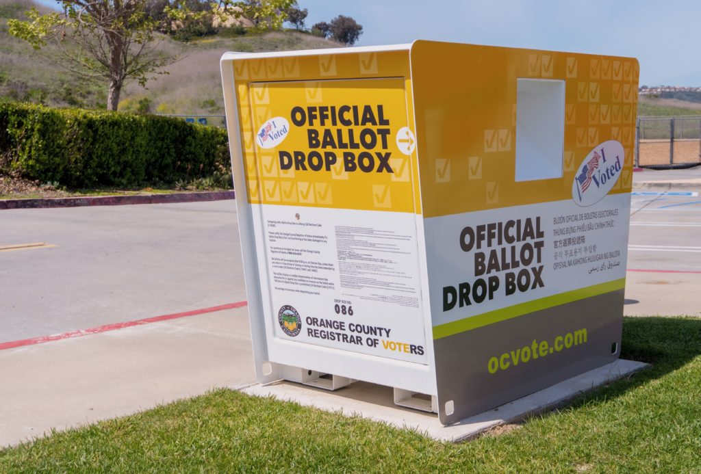 An official ballot drop box where voters can deliver their completed mail-in ballots and skip the line.