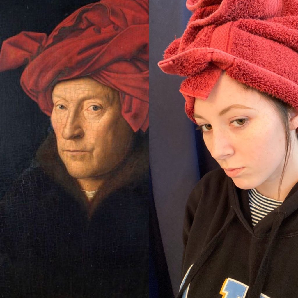 Nicole Blake recreates a renowned Jan Van Eyck painting using a towel as part of The Getty&squot;s