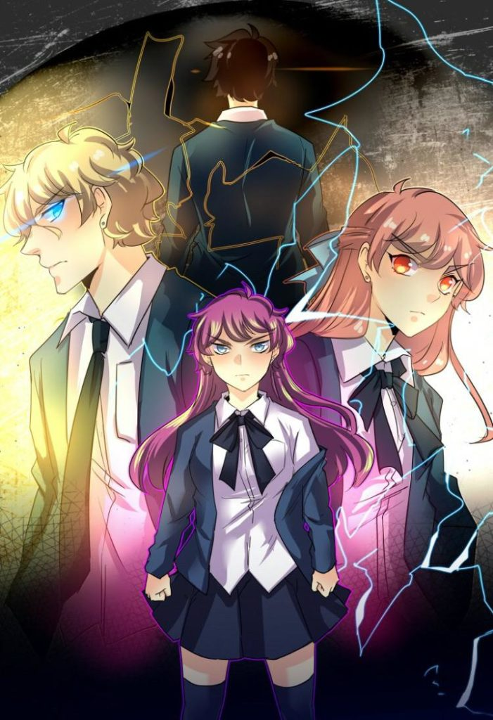 Webtoon poster of John (back) Arlo (left) Seraphina (front) and Remi (right)