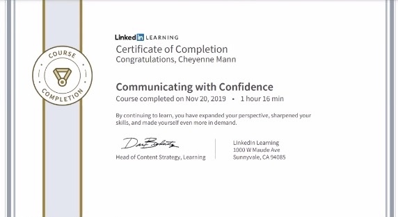 Cheyenne Mann shows one of the many different certificates students can earn and add to their resume by completing LinkedIn Learning courses.