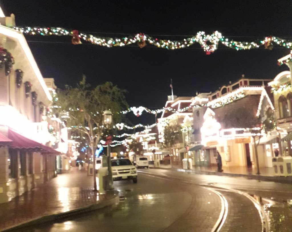 A photo of Disneyland empty during the holidays. Overnight workers are coming in.