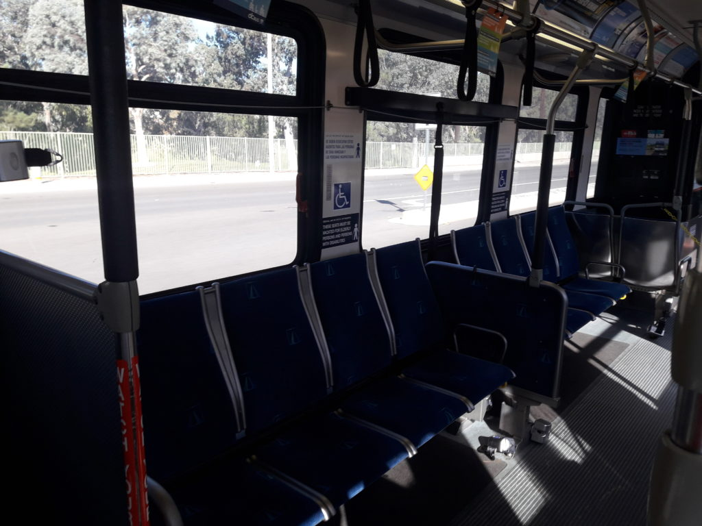 Route 71 southbound bus is empty on a Wednesday morning.