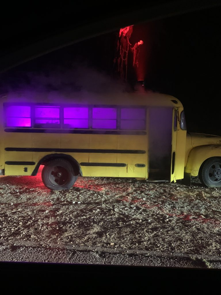 School bus prop in the drive-thru maze portion of the hayride.