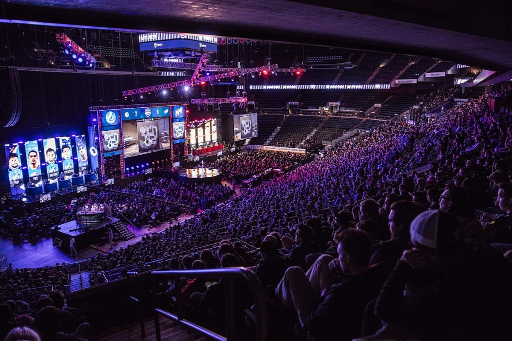 A massive audience gathers to watch the Counter Strike Global Offensive championship finals in 2016.