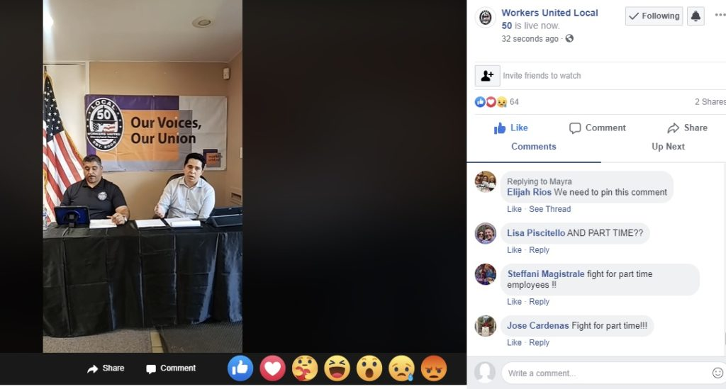 Commenters demand to know what union leaders will do for part-time workers during the Workers United Local 50 Facebook Live steam.