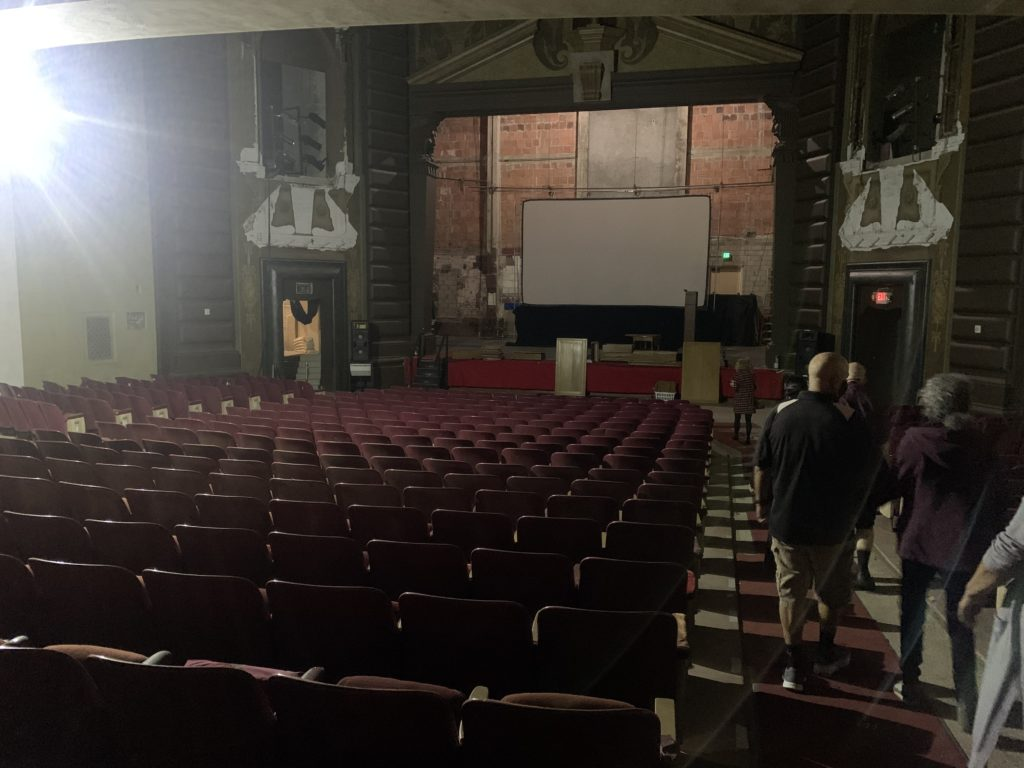 The eerie inside of the currently vacant Fox Theatre.