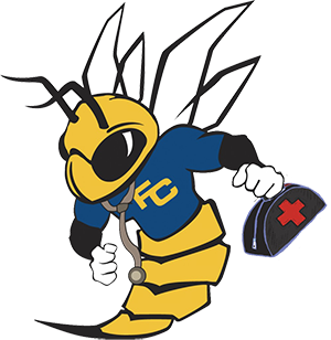 Buzzy the hornet, health center edition.