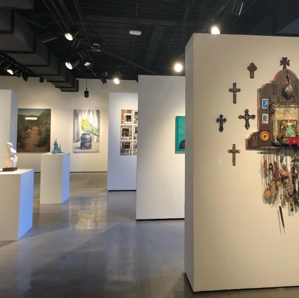 The display of the 2018 Faculty Biennial at the Fullerton College Art Gallery.
