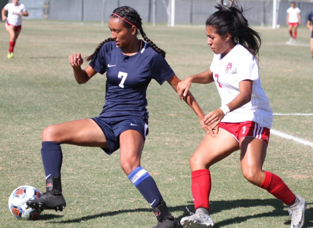 Kaelah Basurto takes defense in second half of the game against the Dons Tuesday, Oct. 8.