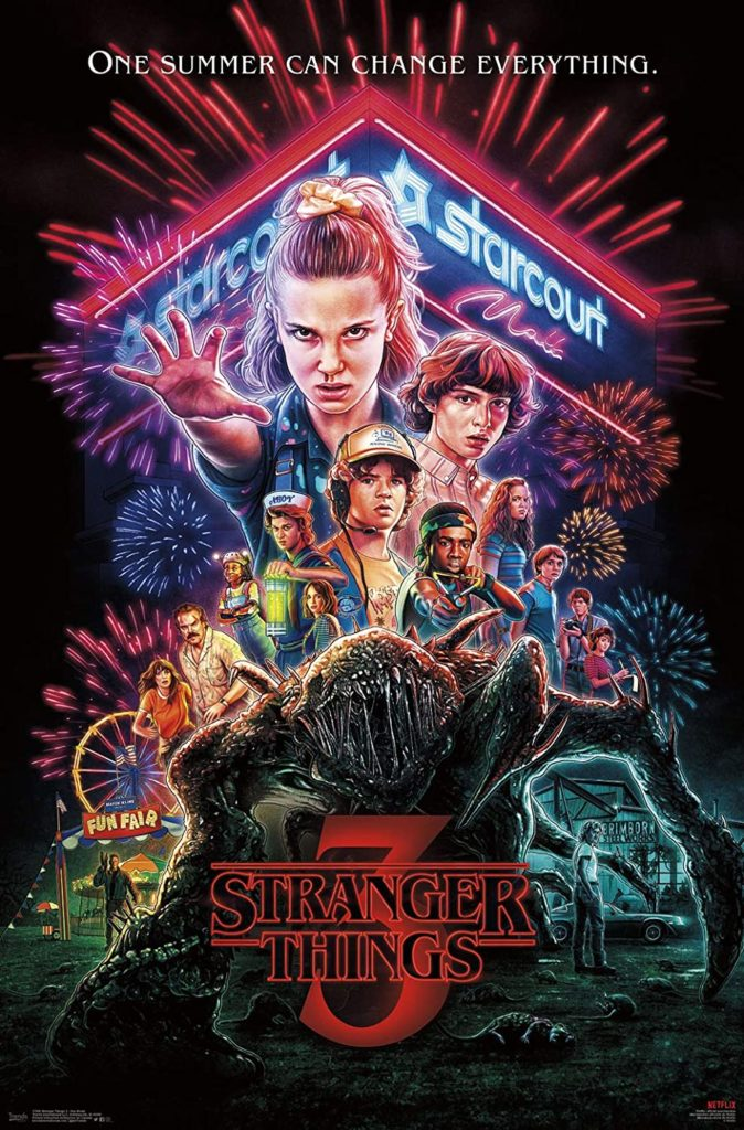 Series poster for Stranger Thing's: Season Three featuring primary characters and locations of the show.