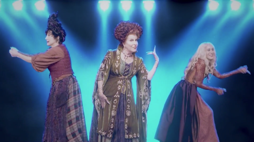 The original trio of witches performing their rendition of I Put a Spell on You from the 1993 film. (From left to right) Kathy Najimy, Bette Midler and Sarah Jessica Parker.