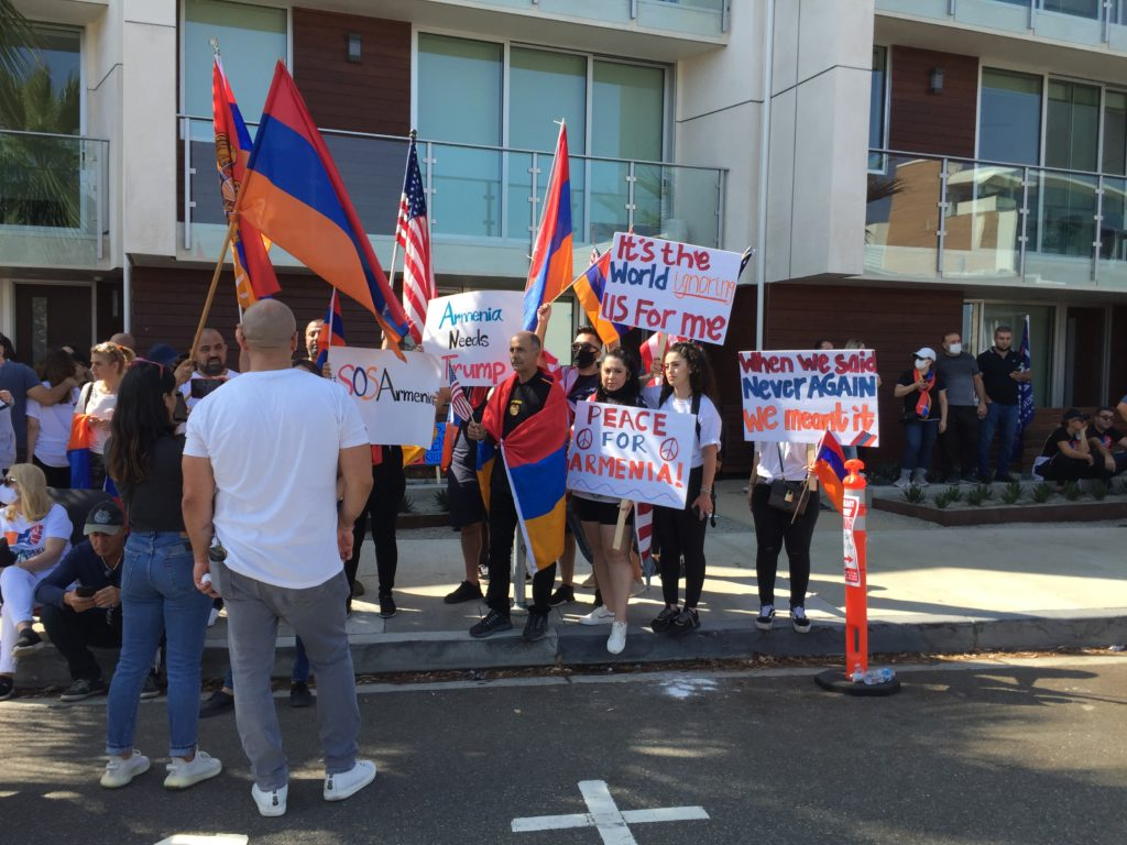 Armenian protesting the conflict between Armenia and Azerbaijan.