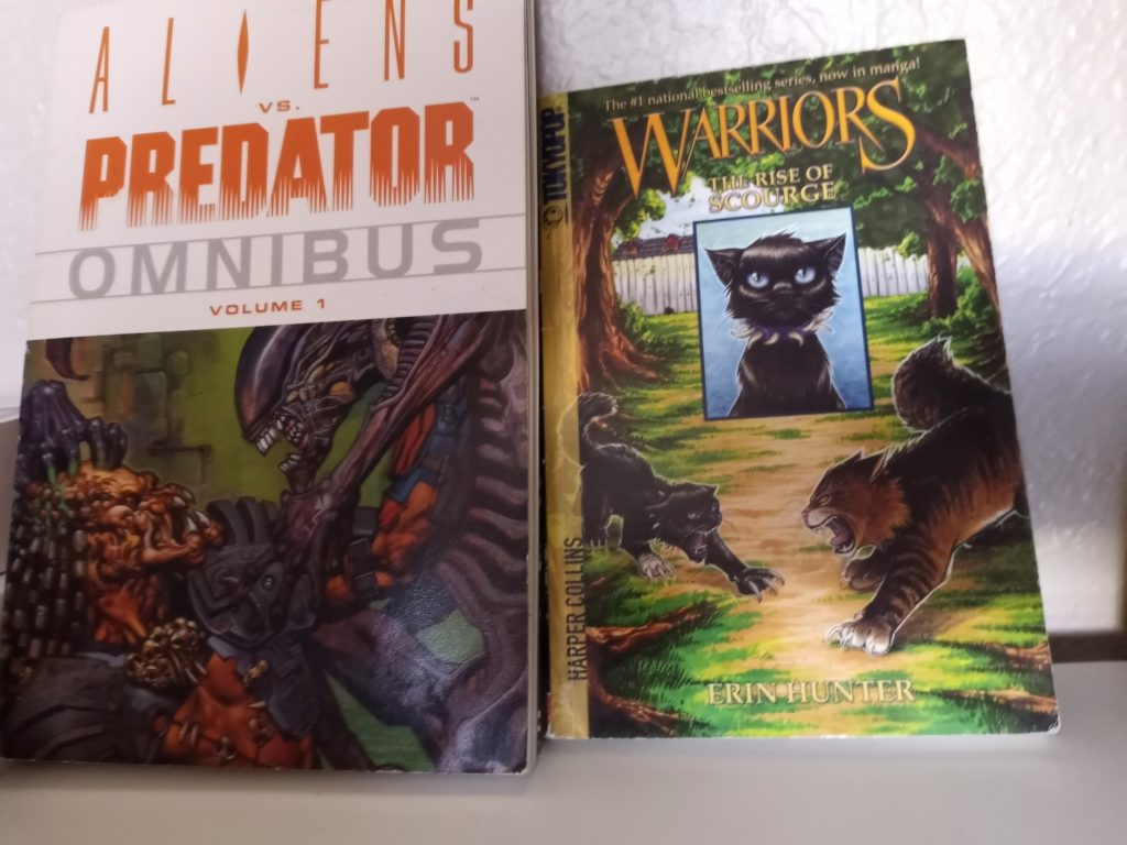 """""""Aliens vs. Predator"""" is a popular comic book series from the &squot;90s. """"The Rise of Scourge"""" is a manga and part of the """"Warriors"""" series."""