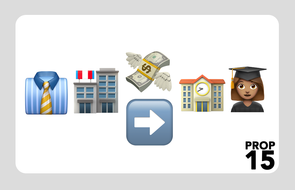 Apple's emojis used to simply explain Proposition 15.