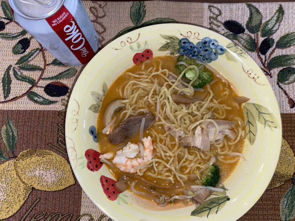 Shrimp Revival Ramen with a Diet Coke on the side.