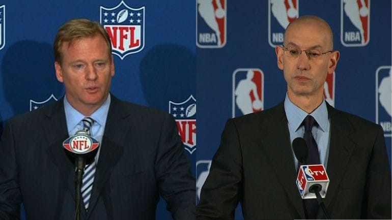 Roger Goodell (left) Adam Silver (right) both at their respective press meetings.