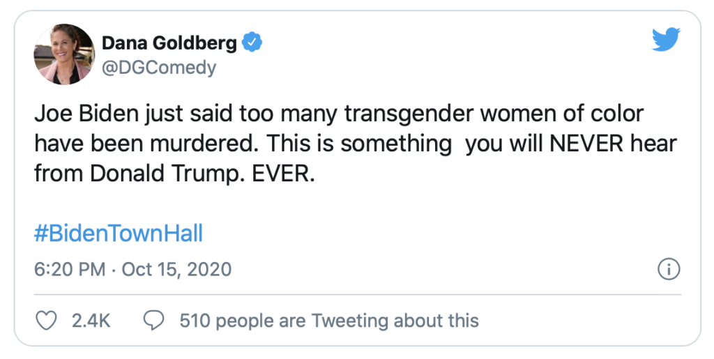 A Twitter post made after Joe Biden responded to how he would ensure that members of the LGBTQ had rights restored taken away by the Trump Administration.