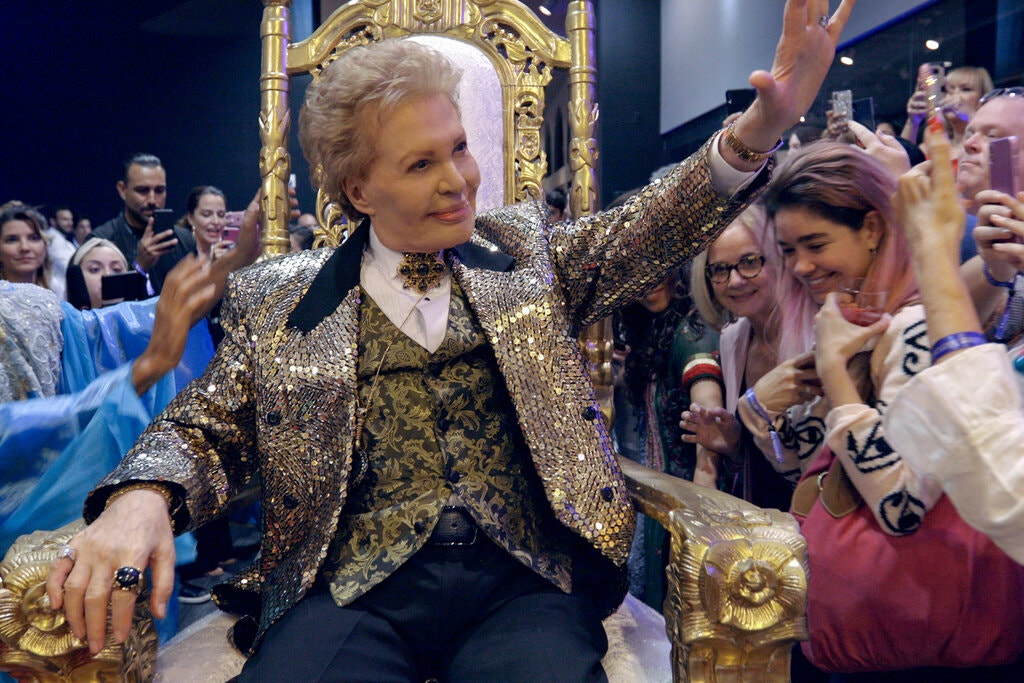 "Famous astrologer Walter Mercado in a scene from Netflix documentary, ""Mucho Mucho Amor."""