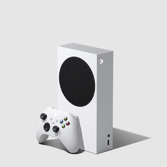 The all white Xbox Series S has a sleeker and more compact design than its Series X counterpart.