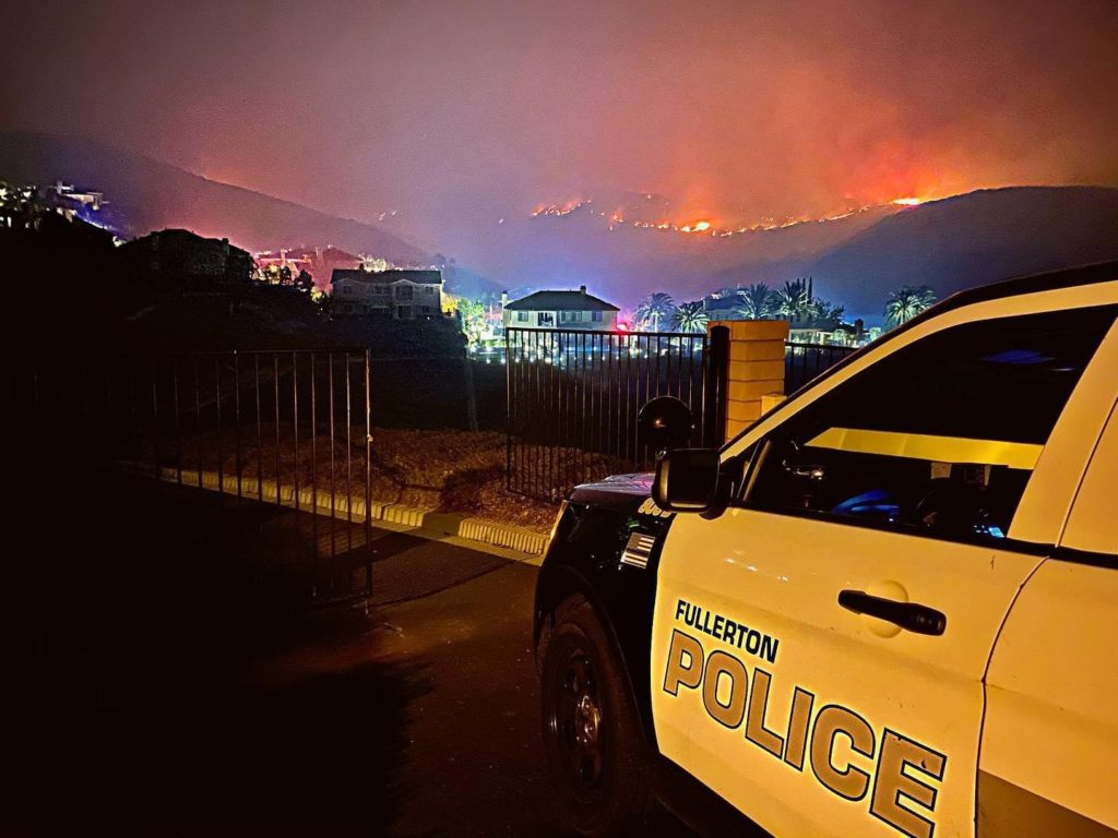 Fullerton Police Officer assist with efforts in our neighboring community affected by Blue Ridge Fire