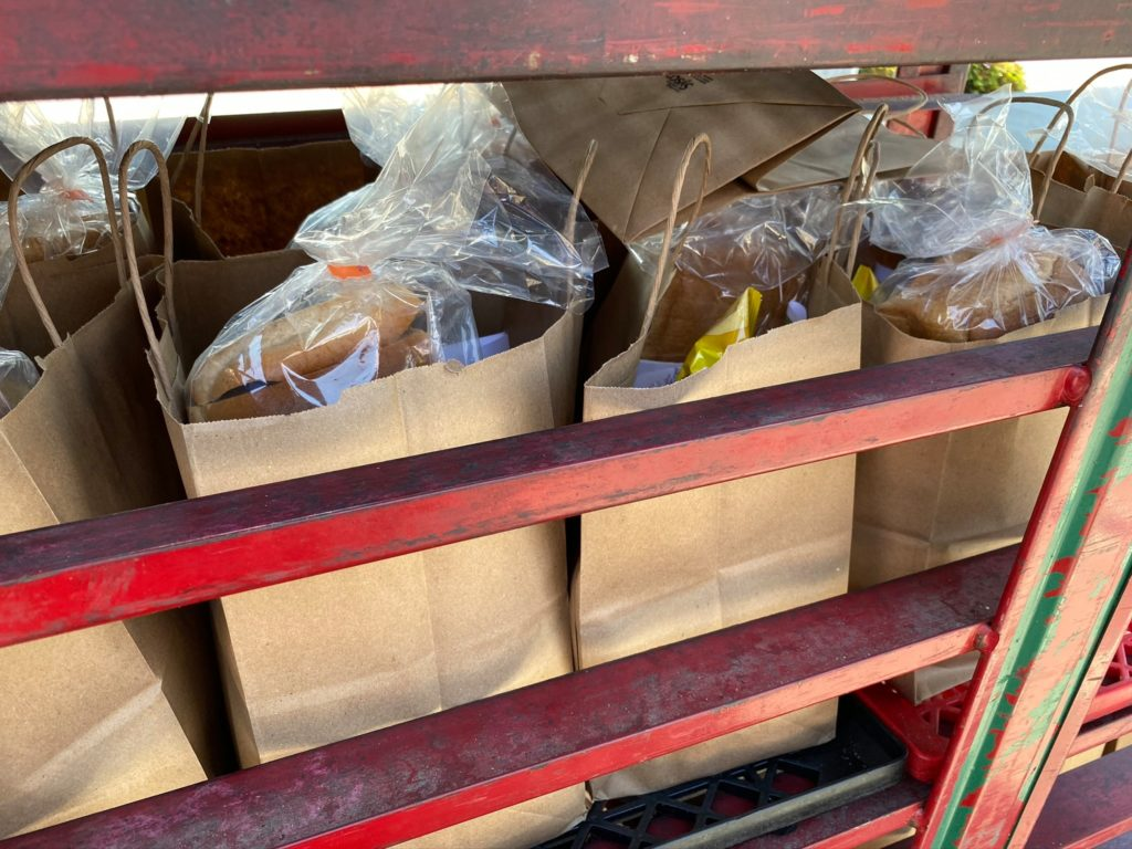 Bags of food from drive-thru