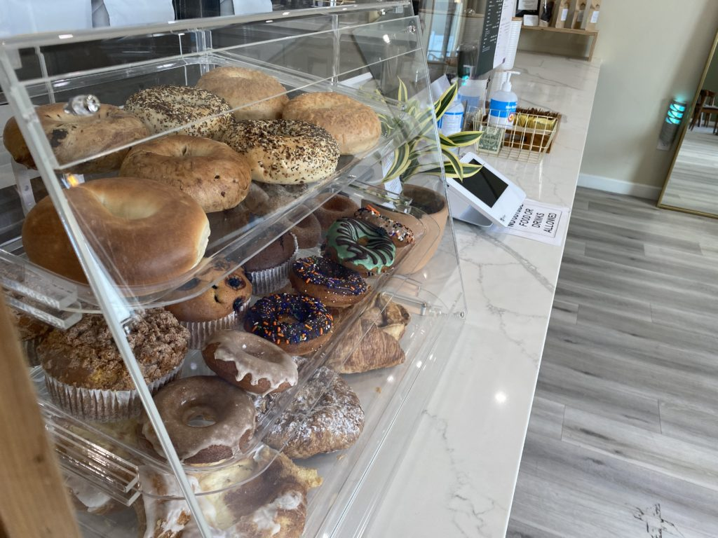 Pastries available for customers. Vegan pastries are available as well.